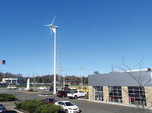 One of two turbines, a 15-kW Proven, was dedicated at the Byers Toyota Dealership in Delaware, Ohio, in November 2010.
