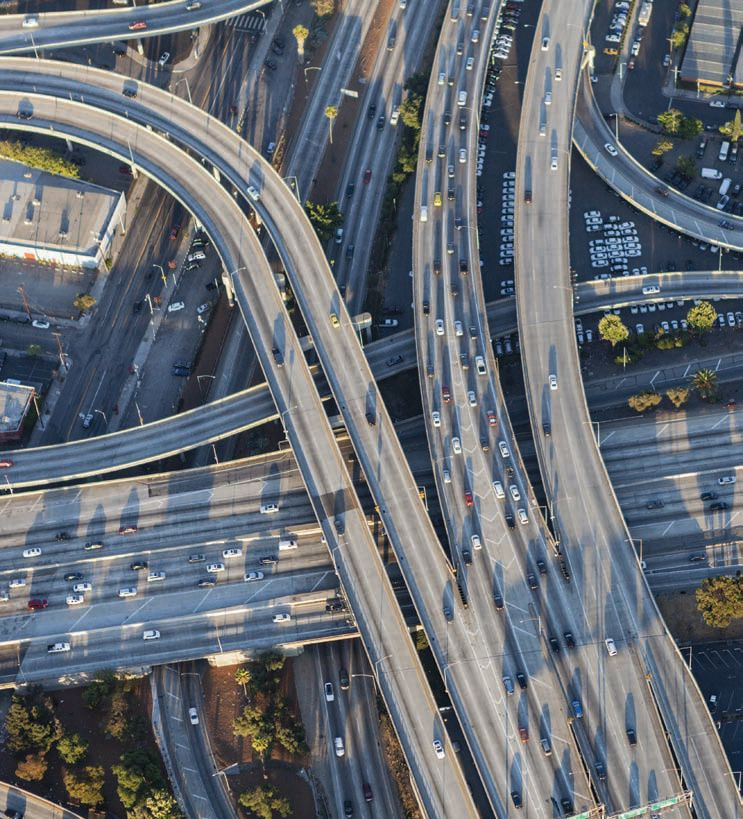 Aerial view of Harbor 110 and Santa Monica 10 Freeway interchange in downtown Los Angeles, California