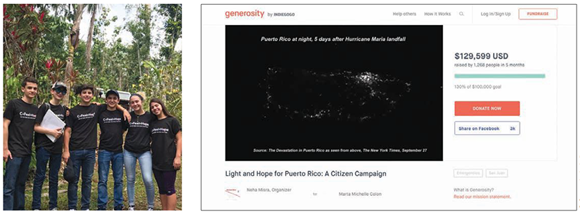 Solar Today Magazine Photo - © Generosity by Indigogo - Left: Hector Gomez Colon and friends have distrubuted thousands of solar lamps across Puerto Rico following Hurricane Maria; Right: Generosity crowd-funding page