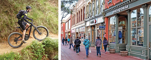 Solar Today Magazine Photo - two images of a mountain biker and people walking on the pearl street mall in Boulder, Colorado